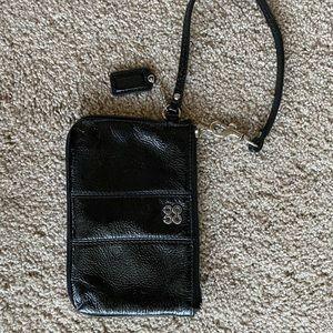 Coach black patten leather wristlet